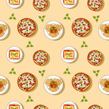 Sömlös modell för italiensk kokkonst stock illustrationer