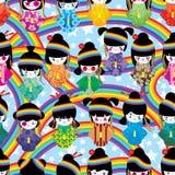 Sömlös modell för japansk dockaflickaHarajuku regnbåge royaltyfri illustrationer
