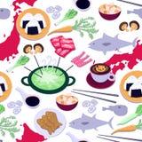 Sömlös modell för japansk kokkonst med all variation av asiatisk mat royaltyfri illustrationer