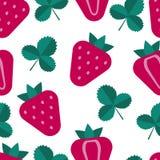 Sömlös modell för jordgubbe, fruktbakgrund, sommar i plan stil royaltyfri foto