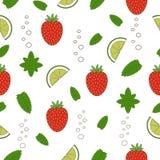 Sömlös modell för jordgubbemojito illustratören för illustrationen för handen för borstekol gör teckningen tecknade som look past stock illustrationer