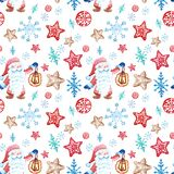 Sömlös modell för jul i scandivanian stil med den gnom-, snöflinga- och gingerbradkakaprydnaden royaltyfri illustrationer