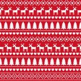 Sömlös modell för jul, kort - skandinavisk tröjastil stock illustrationer