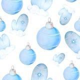 Sömlös modell för jul med bollar och tumvanten royaltyfri illustrationer