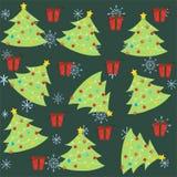 Sömlös modell för jul med den julträdet och prydnaden stock illustrationer
