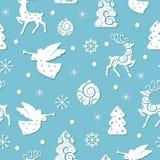 Sömlös modell för jul med feriesymboler royaltyfri illustrationer