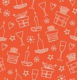 Sömlös modell för jul med gåvor, stearinljus, bägare Ändlös klotterbakgrund med askar av gåvor Hand dragit dekorativt H vektor illustrationer