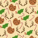 Sömlös modell för jul med godisrottingar, mistel, reinde stock illustrationer