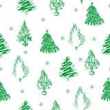 Sömlös modell för jul med gran-träd och stjärnor för handattraktiongräsplan royaltyfri illustrationer