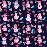 Sömlös modell för jul med gulliga snögubbear och tumvantet royaltyfri illustrationer