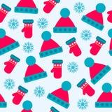 Sömlös modell för jul med hattar, handskar och snöflingor stock illustrationer