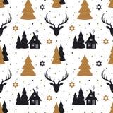 Sömlös modell för jul med hjortar i skandinavisk stil stock illustrationer