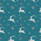 Sömlös modell för jul med hjortar och vildblomman på pastellfärgat lynne arkivbild