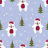 Sömlös modell för jul med isbjörnar stock illustrationer
