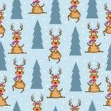 Sömlös modell för jul med renar och julgranar vektor illustrationer