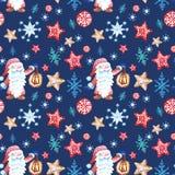 Sömlös modell för jul med scandinavian gnom i röd kläder och med snowflkesprydnaden på blått royaltyfri illustrationer