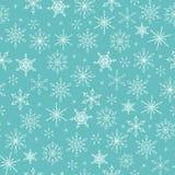 Sömlös modell för jul med snöflingor på turkosbackgrou stock illustrationer