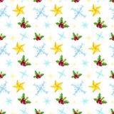 Sömlös modell för jul med stjärnor, snöflingor, mistel på vit bakgrund vektor illustrationer