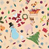 Sömlös modell för jul och nya år tema i stilen vektor illustrationer