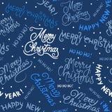 Sömlös modell för jul och för nytt år med inskrifter stock illustrationer
