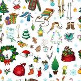 Sömlös modell för julkortdesign stock illustrationer