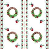 Sömlös modell för julkrans stock illustrationer