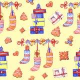 Sömlös modell för julpepparkaka Ljust rödbrun kakor på blå bakgrund Gullig Xmas-bakgrund för tapeten, gåva royaltyfri illustrationer