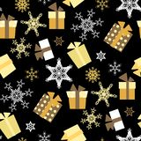Sömlös modell för julvektor med gåvor och snöflingor royaltyfri illustrationer