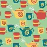 Sömlös modell för kök cups teapots vektor illustrationer