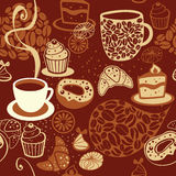 Sömlös modell för kaffe stock illustrationer
