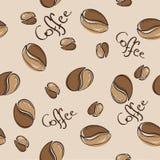 Sömlös modell för kaffebönor - vektorillustration Fotografering för Bildbyråer
