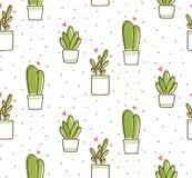 Sömlös modell för kaktus i illustration för vektor för kawaiiklotterstil royaltyfri illustrationer