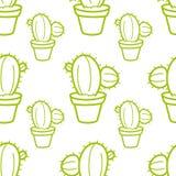 Sömlös modell för kaktus med den kakturs Hand-drog bakgrundsvektorillustrationen Arkivfoton