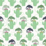 Sömlös modell för kameleontödla- och kaktusväxt För tegelplattavektor för grön reptil repeatable illustration royaltyfri illustrationer