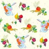Sömlös modell för kanin och för grönsaker Royaltyfri Bild
