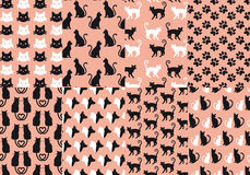 Sömlös modell för katt och för hund, vektor Royaltyfria Bilder