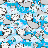 Sömlös modell för kattzenfluga stock illustrationer