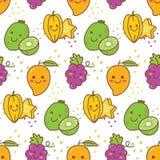 Sömlös modell för Kawaii frukt med druvan, stjärnafrukt, kiwin etc. royaltyfri illustrationer