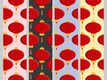 Sömlös modell för kinesisk lykta Uppsättning stock illustrationer