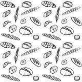 Sömlös modell för klotter av bageriprodukter Arkivbild