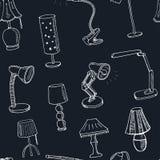 Sömlös modell för klotter med lampvektorillustrationen vektor illustrationer