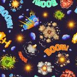 Sömlös modell för komiska stilexplosioner vektor illustrationer