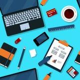 Sömlös modell för kontor med kontorsbeståndsdelar royaltyfri illustrationer