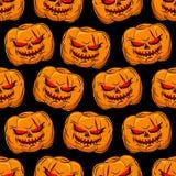 Sömlös modell för läskig pumpa bakgrund halloween vektor vektor illustrationer