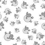 Sömlös modell för lamm i tecknad filmstil stock illustrationer