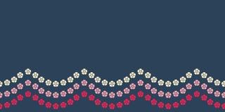 Sömlös modell för ljus blom- girlandgräns Nätt röd och rosa blom- gränsbakgrundsmodell Söt yttersida royaltyfri illustrationer