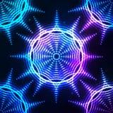 Sömlös modell för ljus glänsande blå neonsol Royaltyfria Bilder