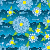 Sömlös modell för lyckliga blommafiskblått Royaltyfri Fotografi