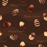 Sömlös modell för lyckliga Påsk-choklad ägg Arkivfoton