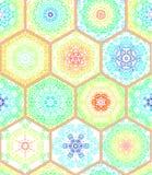Sömlös modell för lyxig orientalisk tegelplatta Färgrik blom- patchworkbakgrund Chic stil för Mandalaboho Richblomma Arkivbild